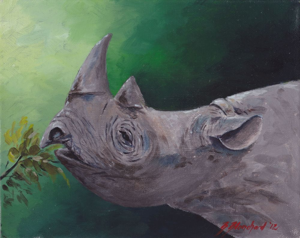 Acrylic painting of a black rhinoceros.