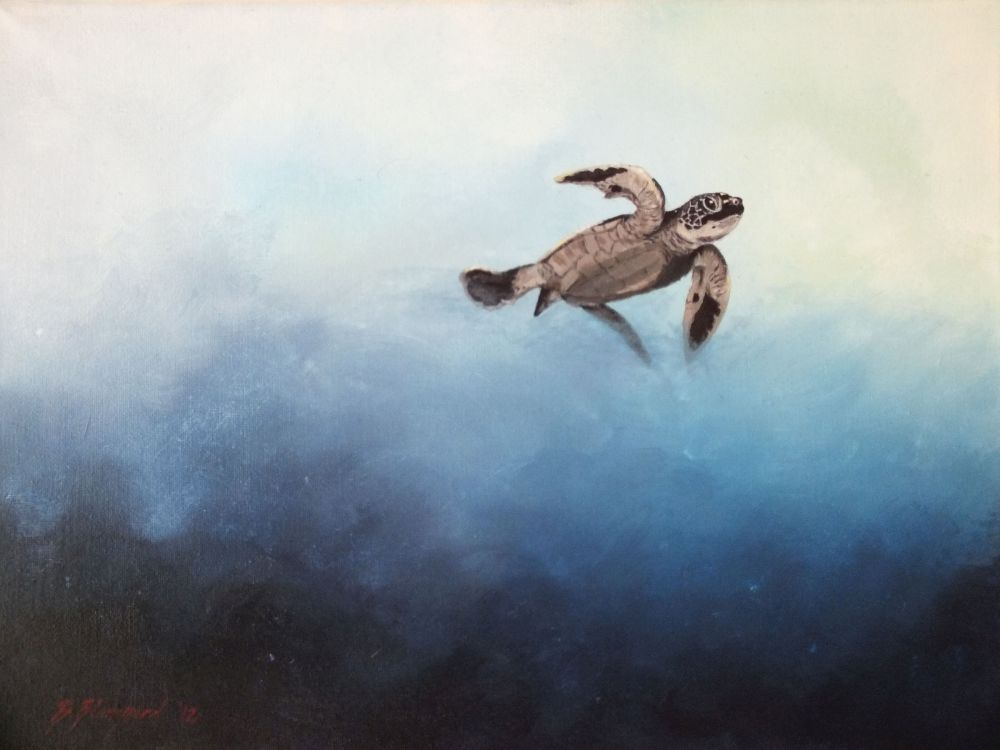 Acrylic Painting of a Green Turtle Hatchling