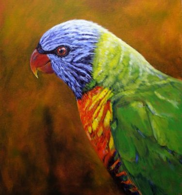 Acrylic Painting of a Rainbow Lorikeet