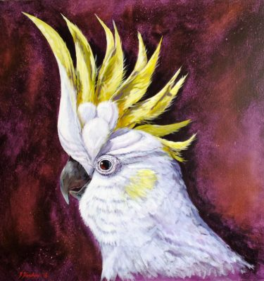 Acrylic Painting of a Sulphur-Crested Cockatoo