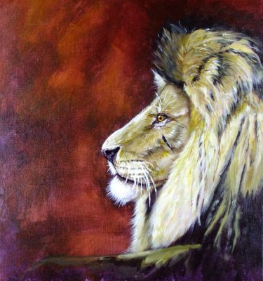 Acrylic painting of a male African Lion