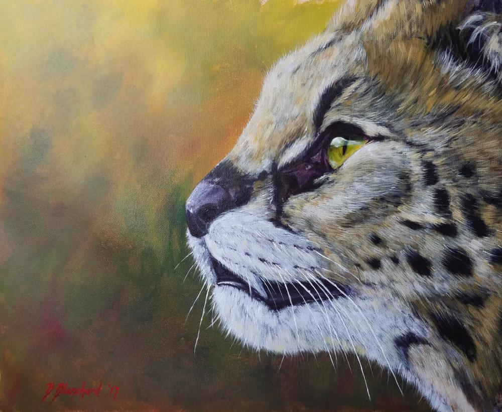 Acrylic painting of a serval