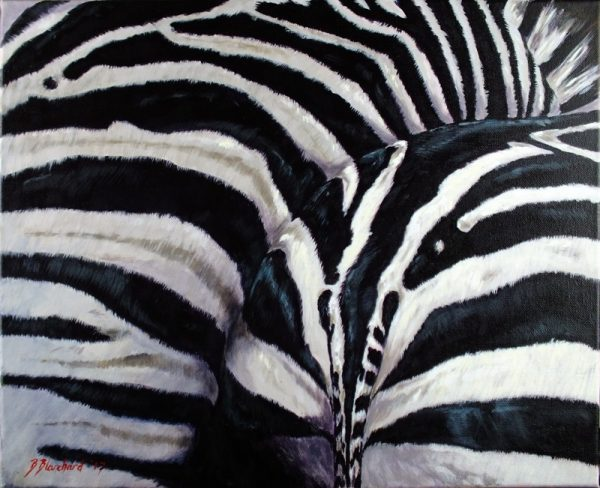 Acrylic painting of a zebra