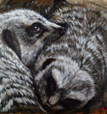 Acrylic Painting of Meerkats