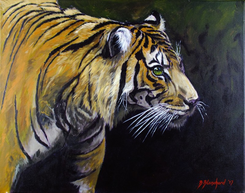 Acrylic Painting of a Sumatran Tiger